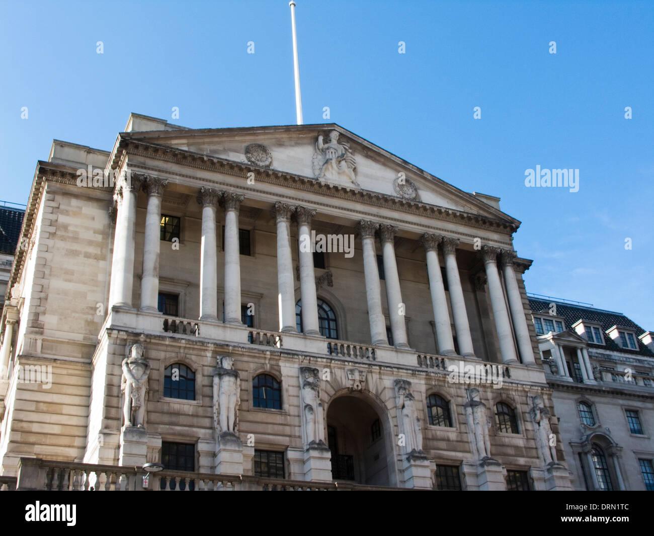 Facade of The Bank of England, Threadneedle Street, London - Stock Image