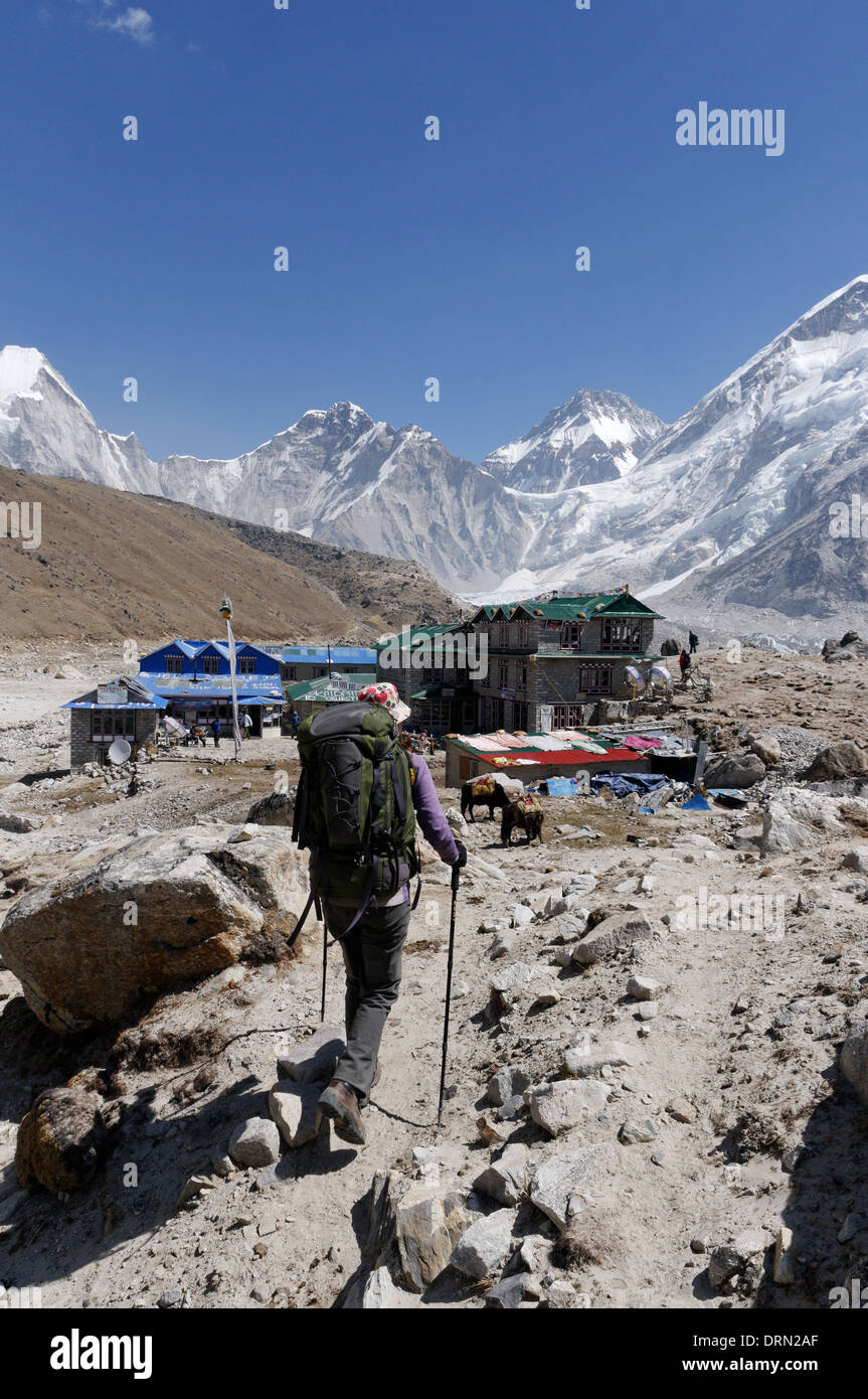 A lady trekker arriving at Gorak Shep, the last point on the Everest Base Camp trek, Nepal - Stock Image