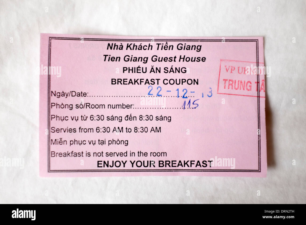 Vietnamese Hotel Breakfast Coupon Stock Photo 66231441 Alamy
