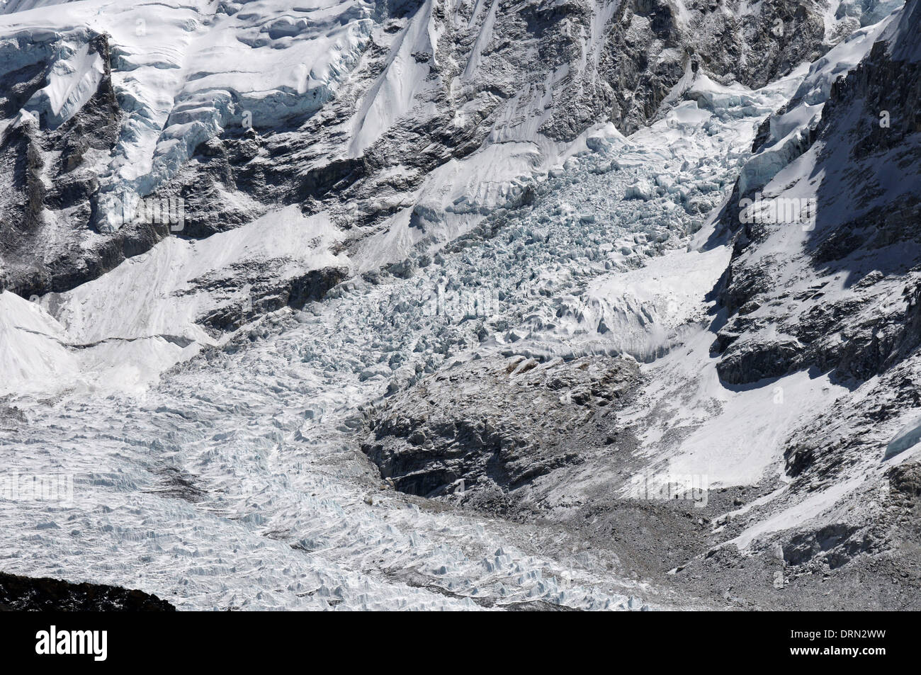 The Khumbu icefall as seen from Kala pattar - Stock Image