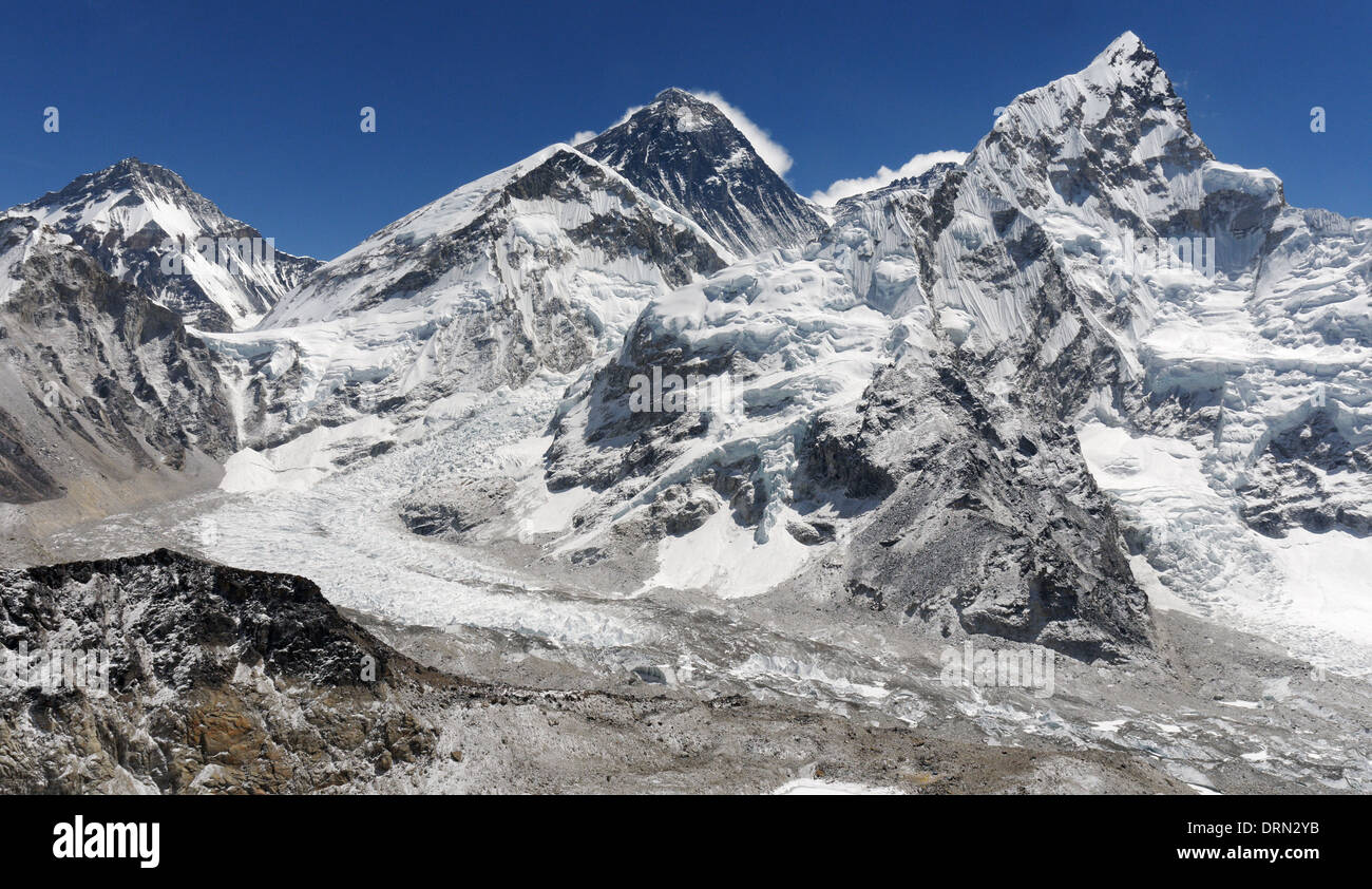 The Everest massif and the Khumbu Icefall and glacier, as seen from Kala Pattar, the high point of the Everest Base - Stock Image