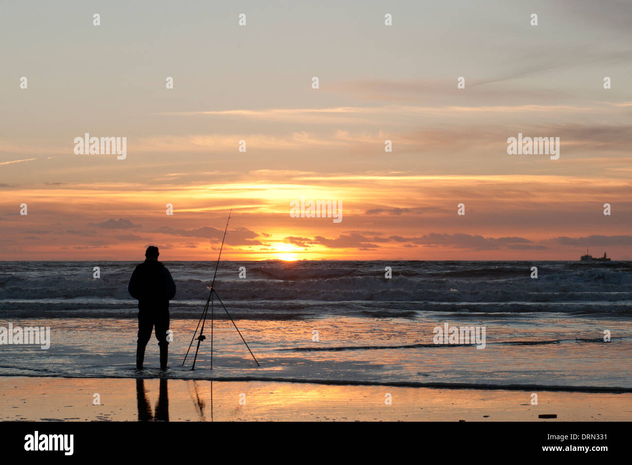 Winter flounder fishing on Llangennith Beach, Gower Stock Photo