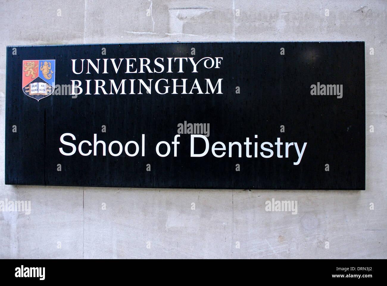 Dentistry School sign Birmingham University - Stock Image