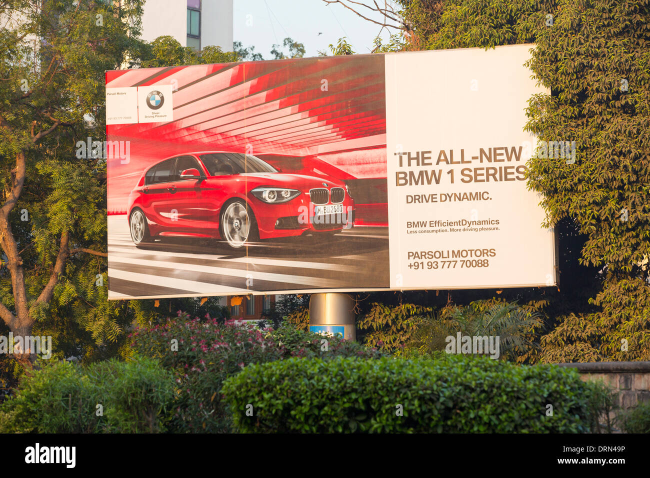 An advert for BMW cars in Ahmedabad; India; - Stock Image