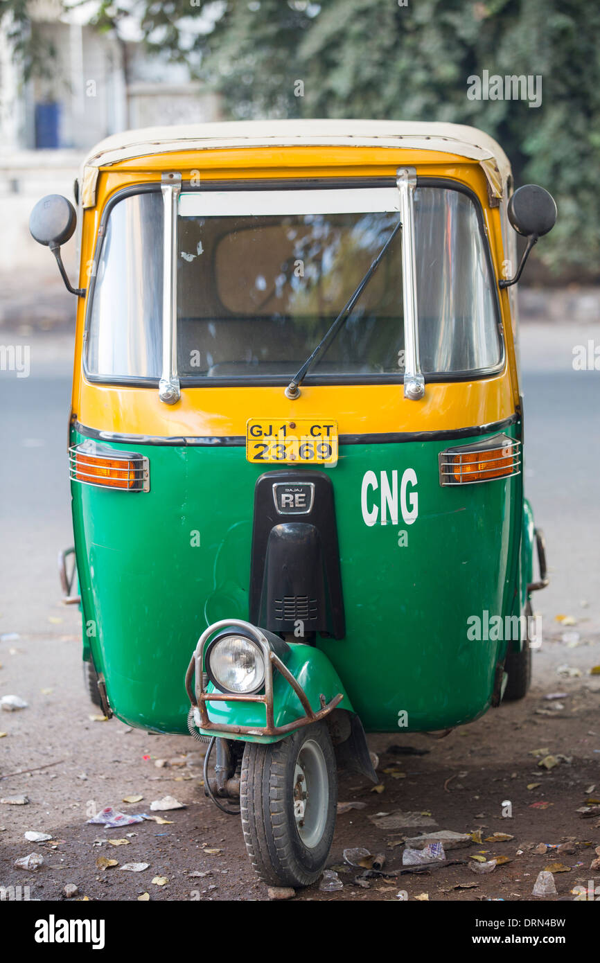 A Tuctuc running on Compressed Natural Gas (CNG) in Ahmedabad; India; - Stock Image