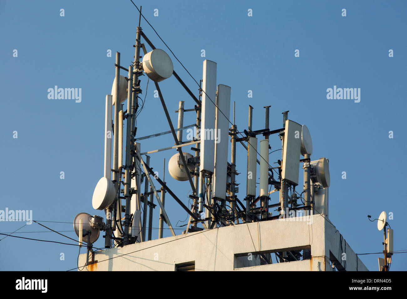 Communication equipment on a building in Ahmedabad; India; - Stock Image