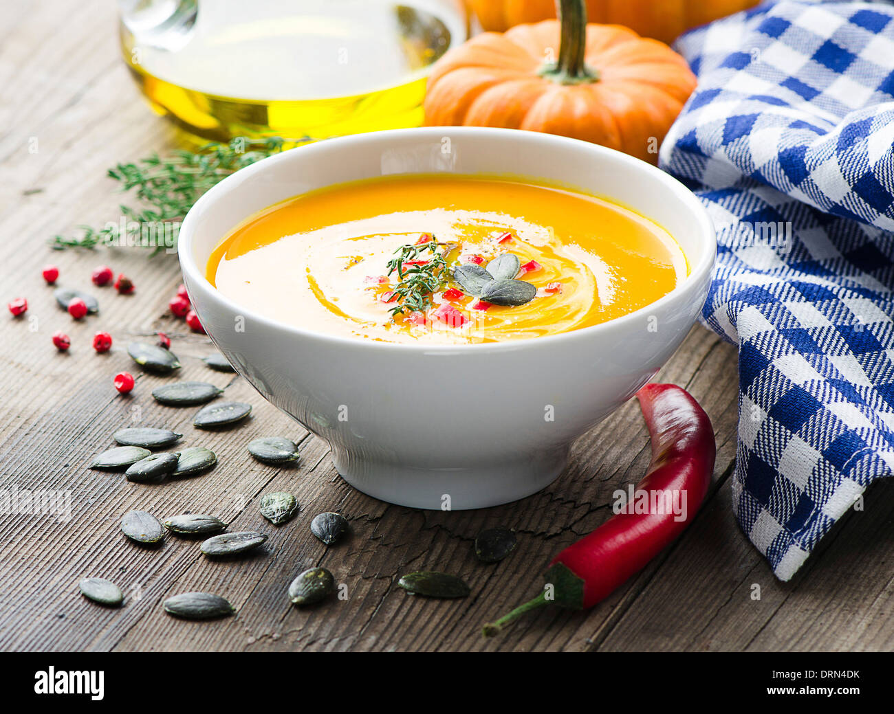 Pumpkin soup - Stock Image