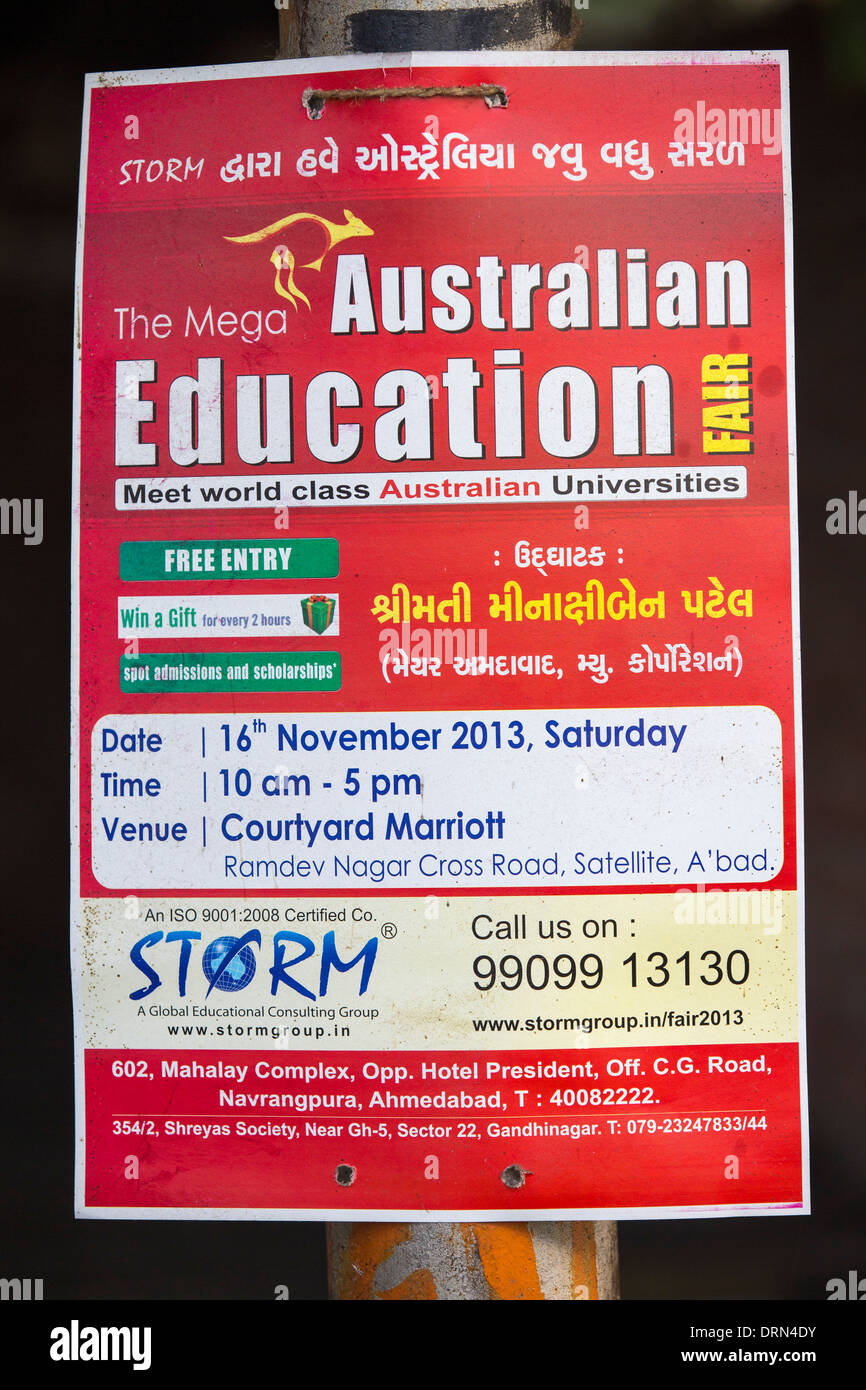 A poster for Australian university education in Ahmedabad; India; - Stock Image