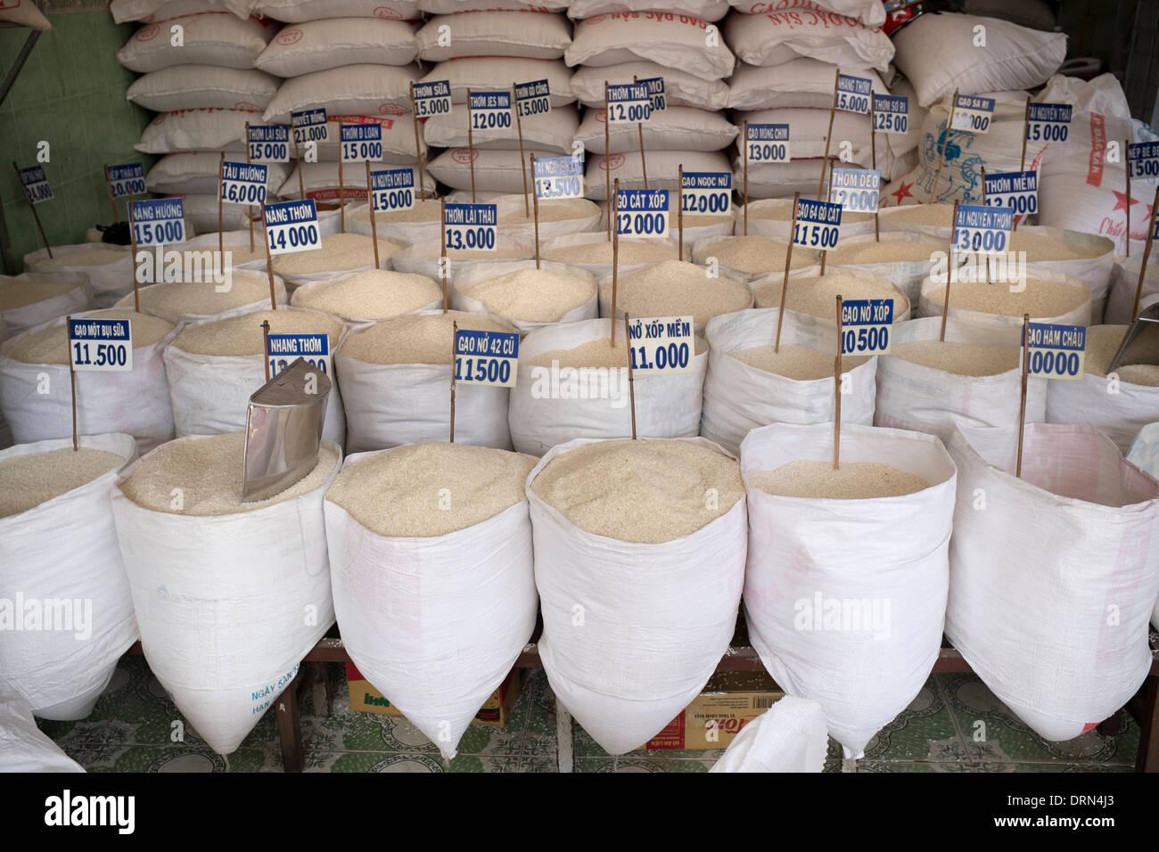 Sacks of Rice for Sale in Vietnam - Stock Image
