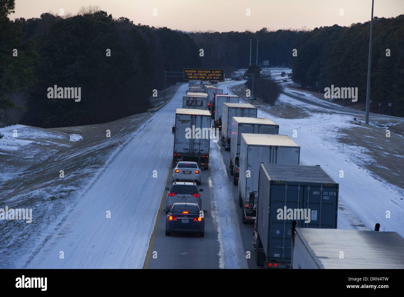 Marietta, Georgia, USA  29th Jan, 2014  As day 2 of the South's snow