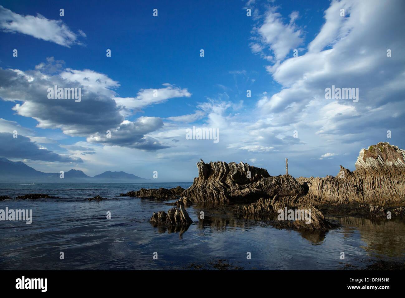 Seaward Kaikoura Ranges and unusual coastal folded rock formations, Kaikoura, South Island, New Zealand - Stock Image