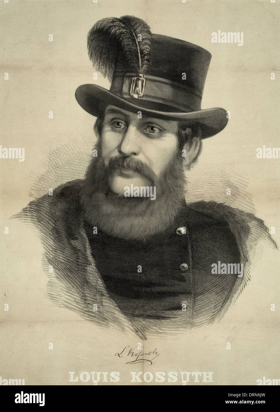 Louis Kossuth - a Hungarian lawyer, journalist, politician and Regent-President of the Kingdom of Hungary during the revolution of 1848, January 1852 - Stock Image