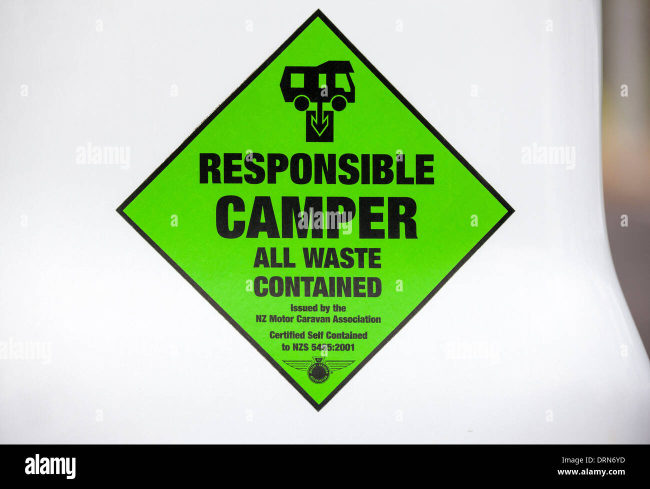 Certified Self Contained sticker on a campervan camper van motorhome motor home. New Zealand certification for freedom camping. - Stock Image