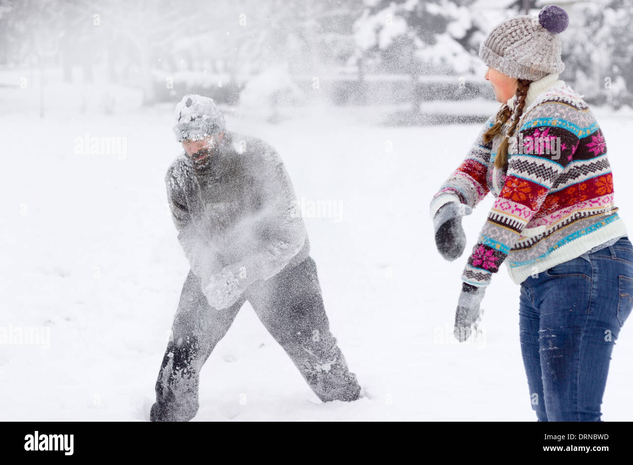 Snowball Fighting - Stock Image