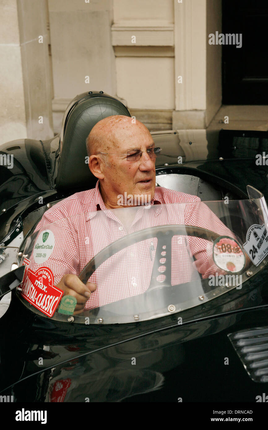 Stirling Moss arrives at the Lanesborough London in a Jaguar XK celebrating the car's 60th birthday - Stock Image