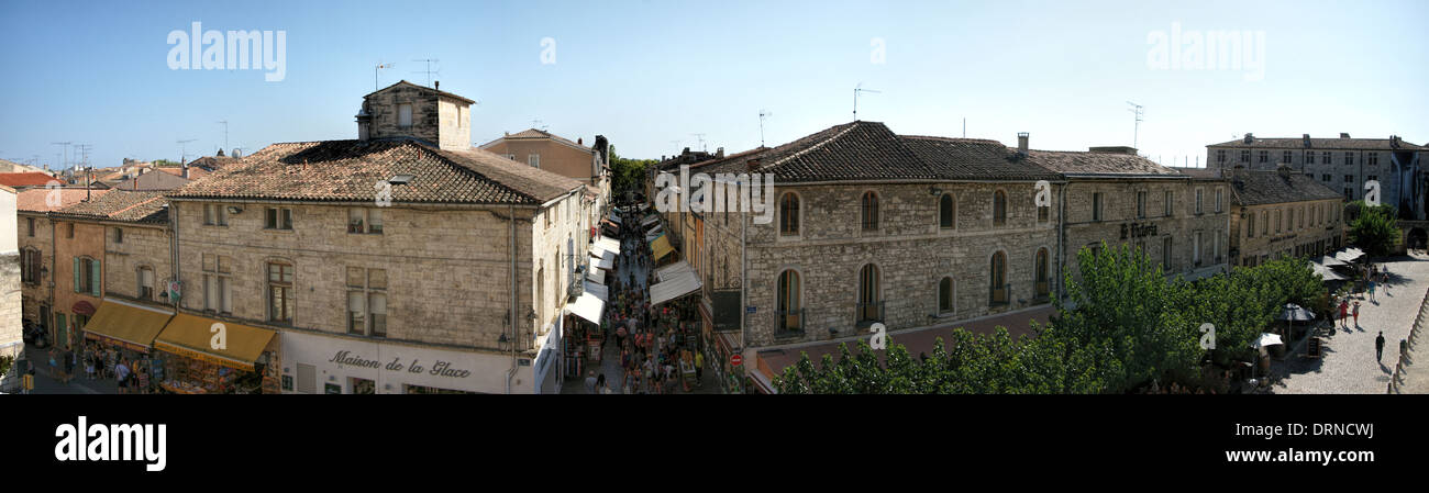 Panoramic view from town walls of Rue Emile Zola, 30220 Aigues-Mortes, France - Stock Image