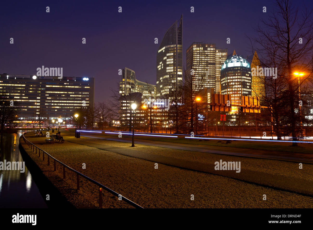The Netherlands. The Hague by night. Government buildings Stock Photo
