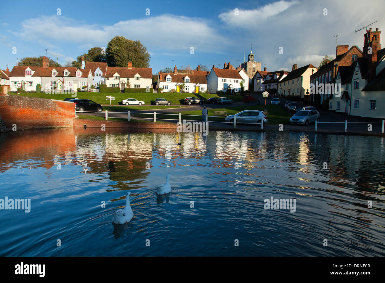 Duck pond and medieval cottages in the village of Finchingfield, Essex, England. - Stock Image