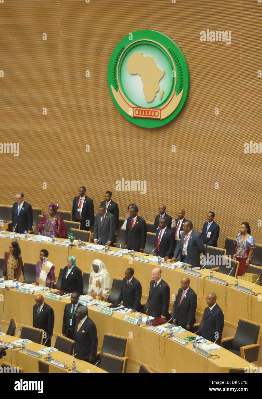 Addis Ababa, Ethiopia. 30th Jan, 2014. Delegates commemorate Nelson Mandela at the beginning of the African Union Stock Photo