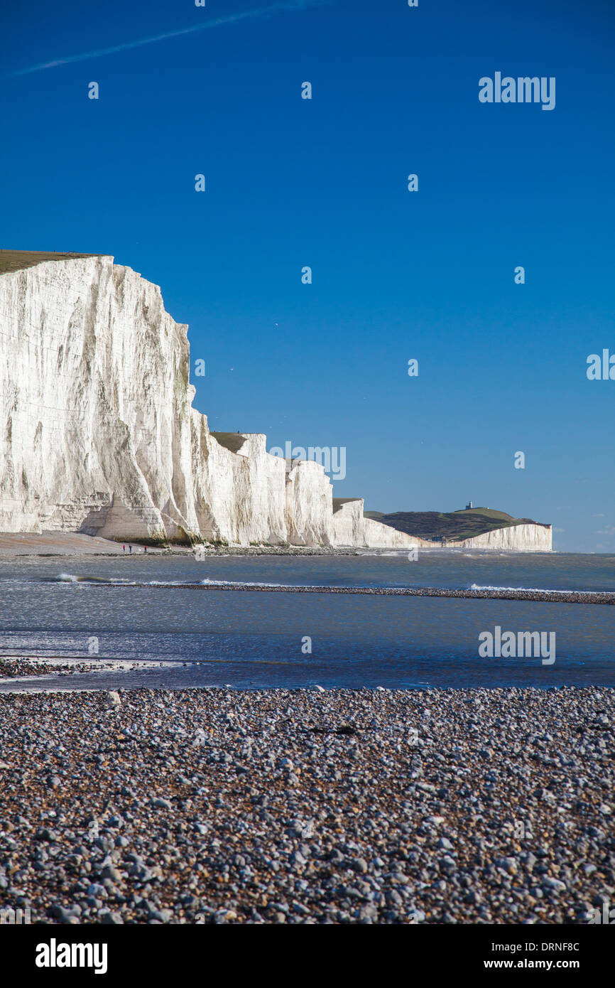 The Seven Sisters from Cuckmere Haven Beach, County Sussex, England. Stock Photo