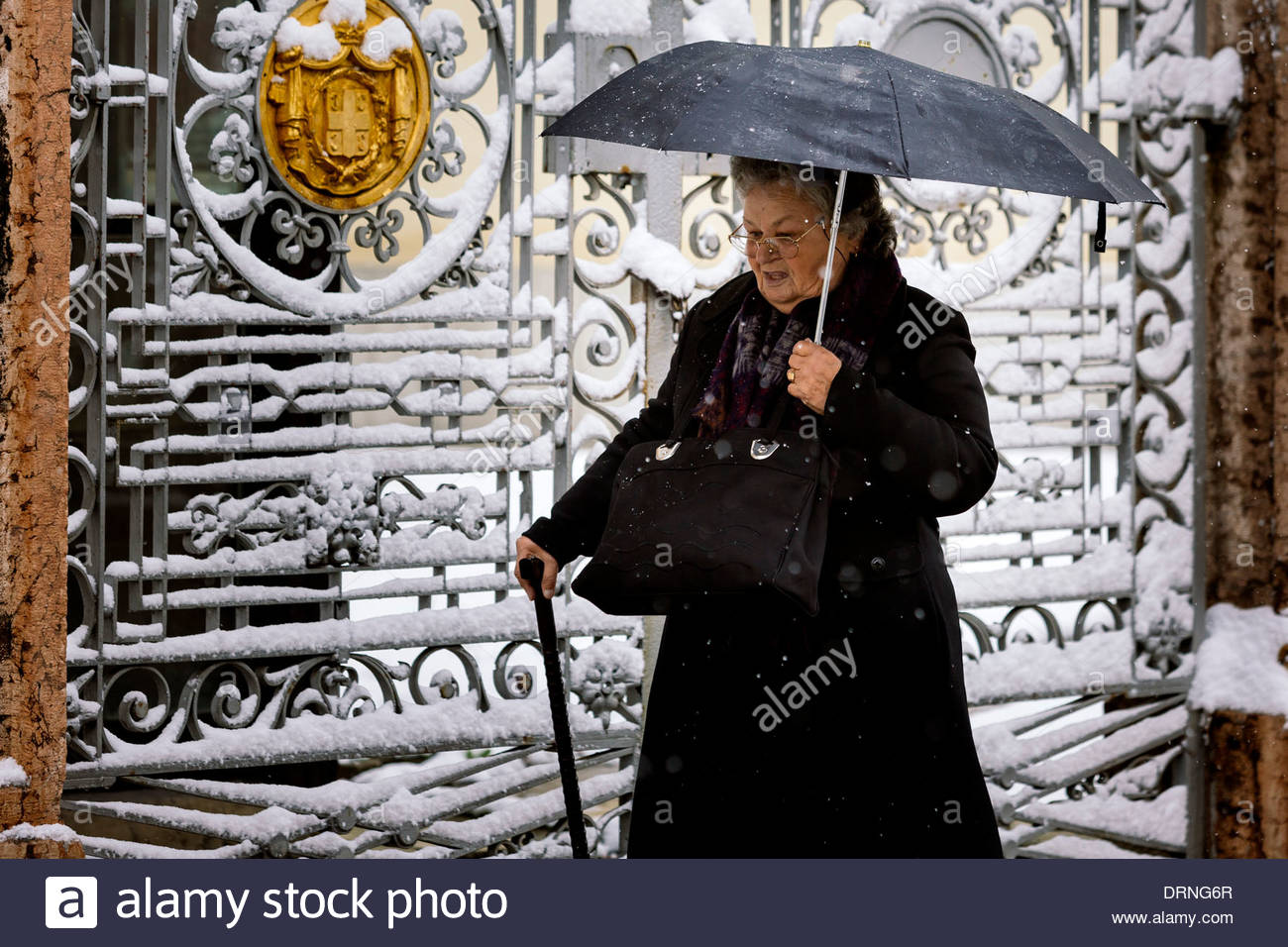 Old Serbian woman on a heavy snow. - Stock Image