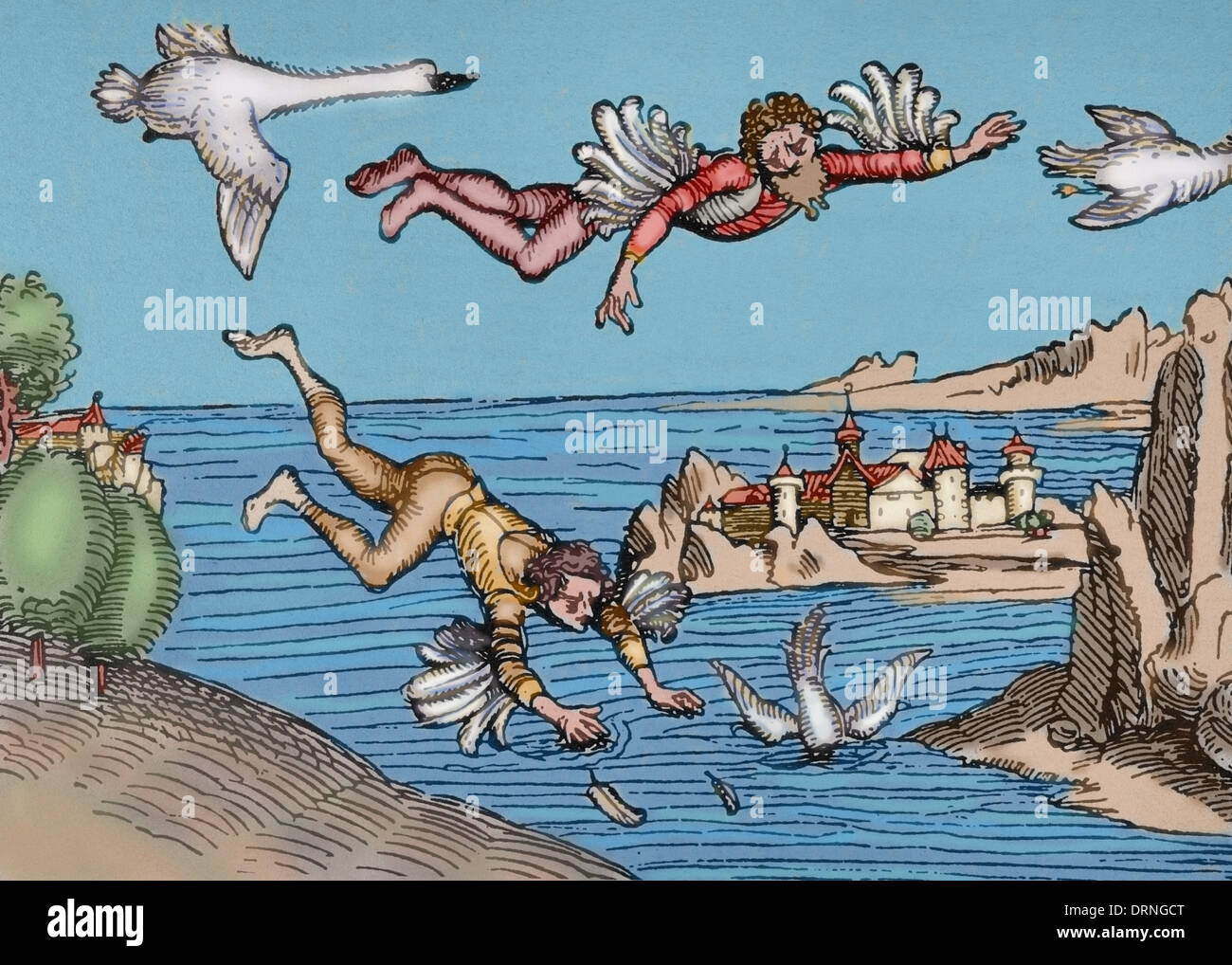 Icarus and his father Daedalus flying. Engraving by Albrecht Durer, 1493. Colored. - Stock Image