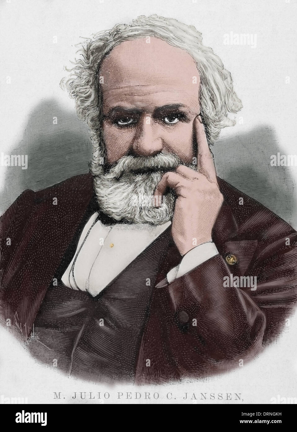 Pierre Janssen (1824-1907). French astronomer. Engraving by Capuz in The Spanish and American Illustration, 1892. Colored. - Stock Image