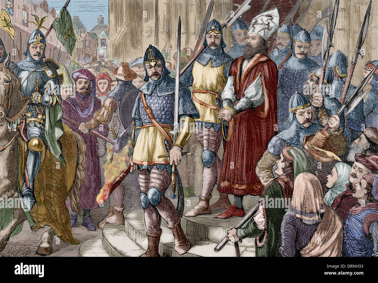 Jerome of Prague (1360-1416). Bohemian preacher. Jerome of Prague marching to execution. Engraving. Colored. - Stock Image