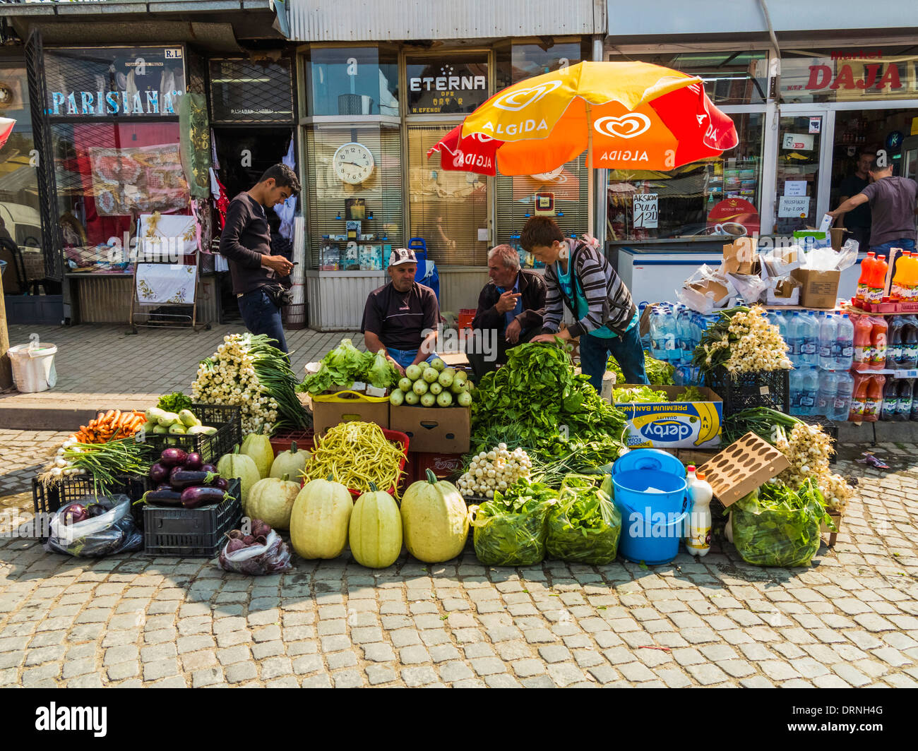 Sellers in the Bazaar market place in Pristina, Kosovo, Europe - Stock Image