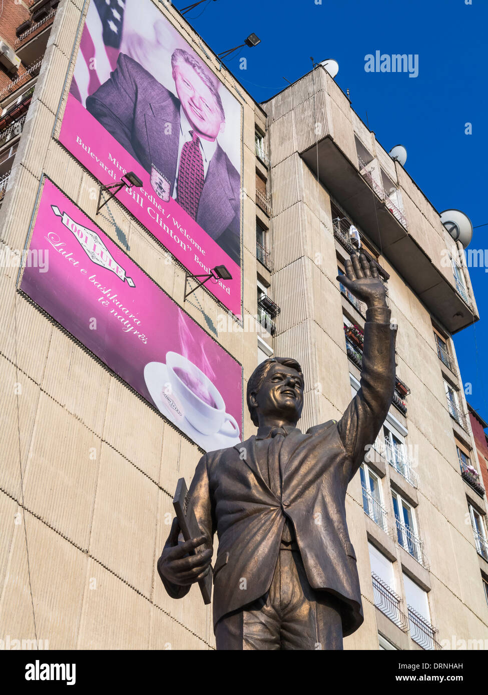 Bill Clinton's statue and billboard, Pristina, Kosovo, Europe - holding the 1999 agreement for US troops to enter Kosovo - Stock Image