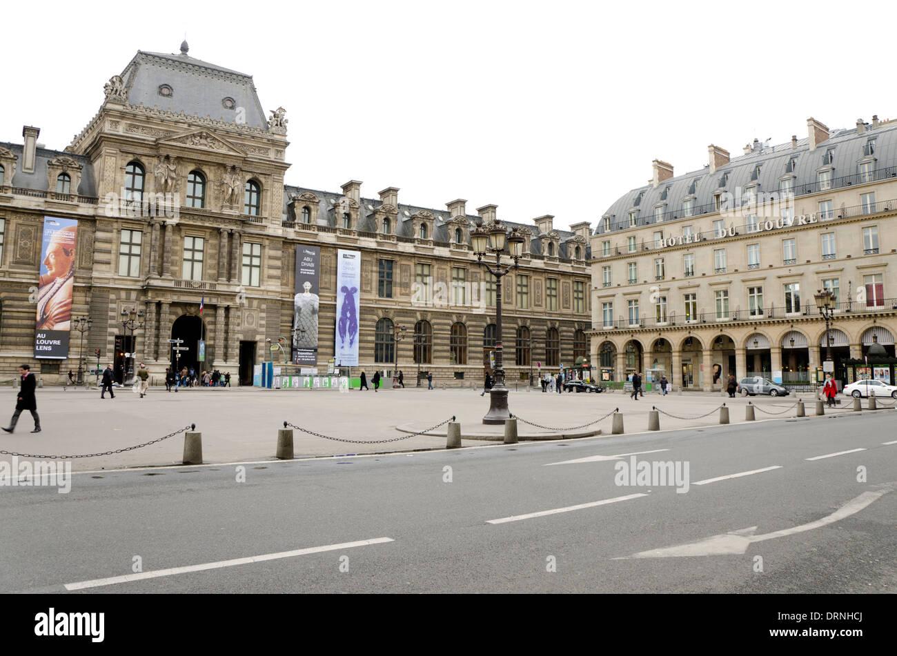 Hotel du Louvre at Palais-Royal, rue saint Honore , Paris, France. - Stock Image