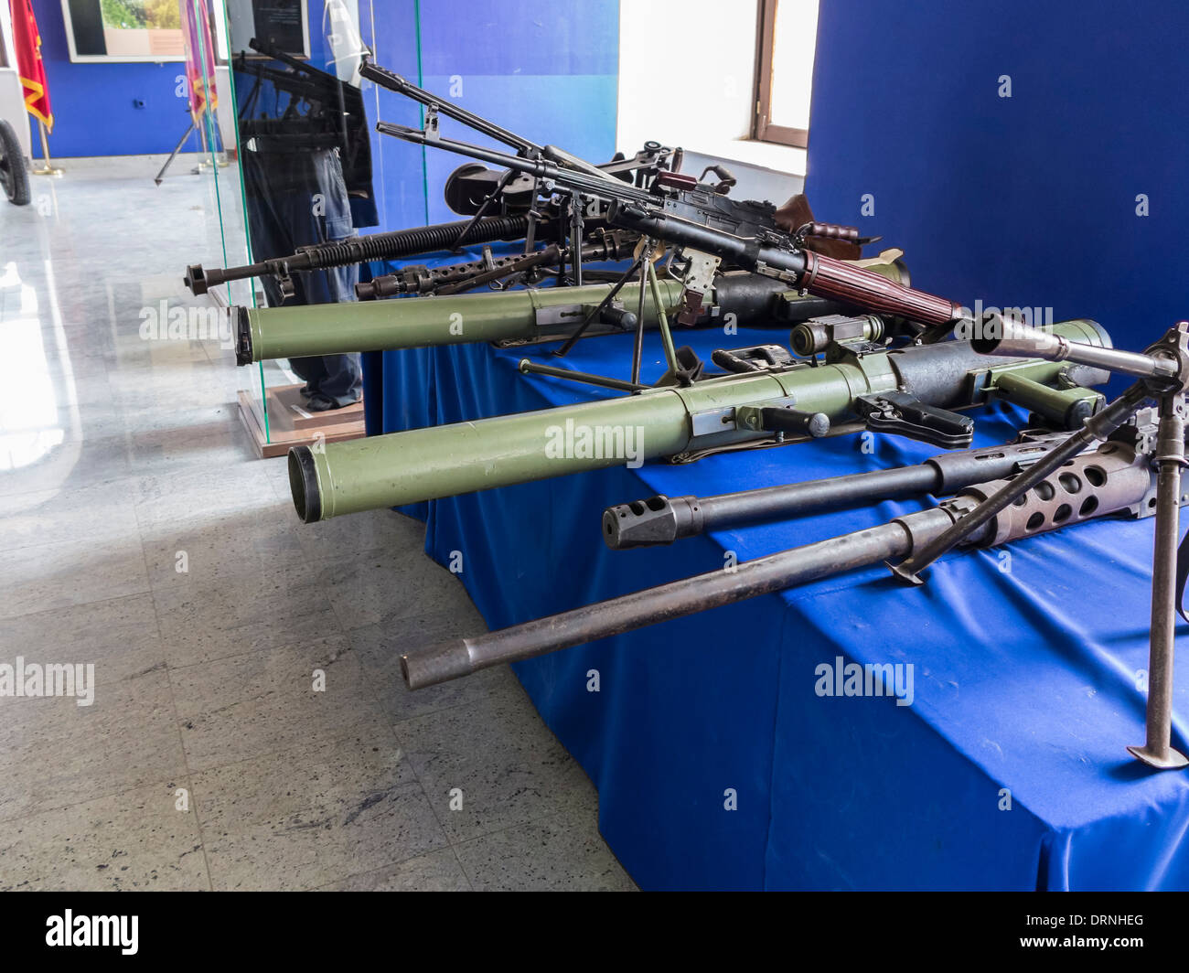 Guns from the war in Kosovo on display in the Museum of Kosovo, Pristina, Kosovo, Europe Stock Photo