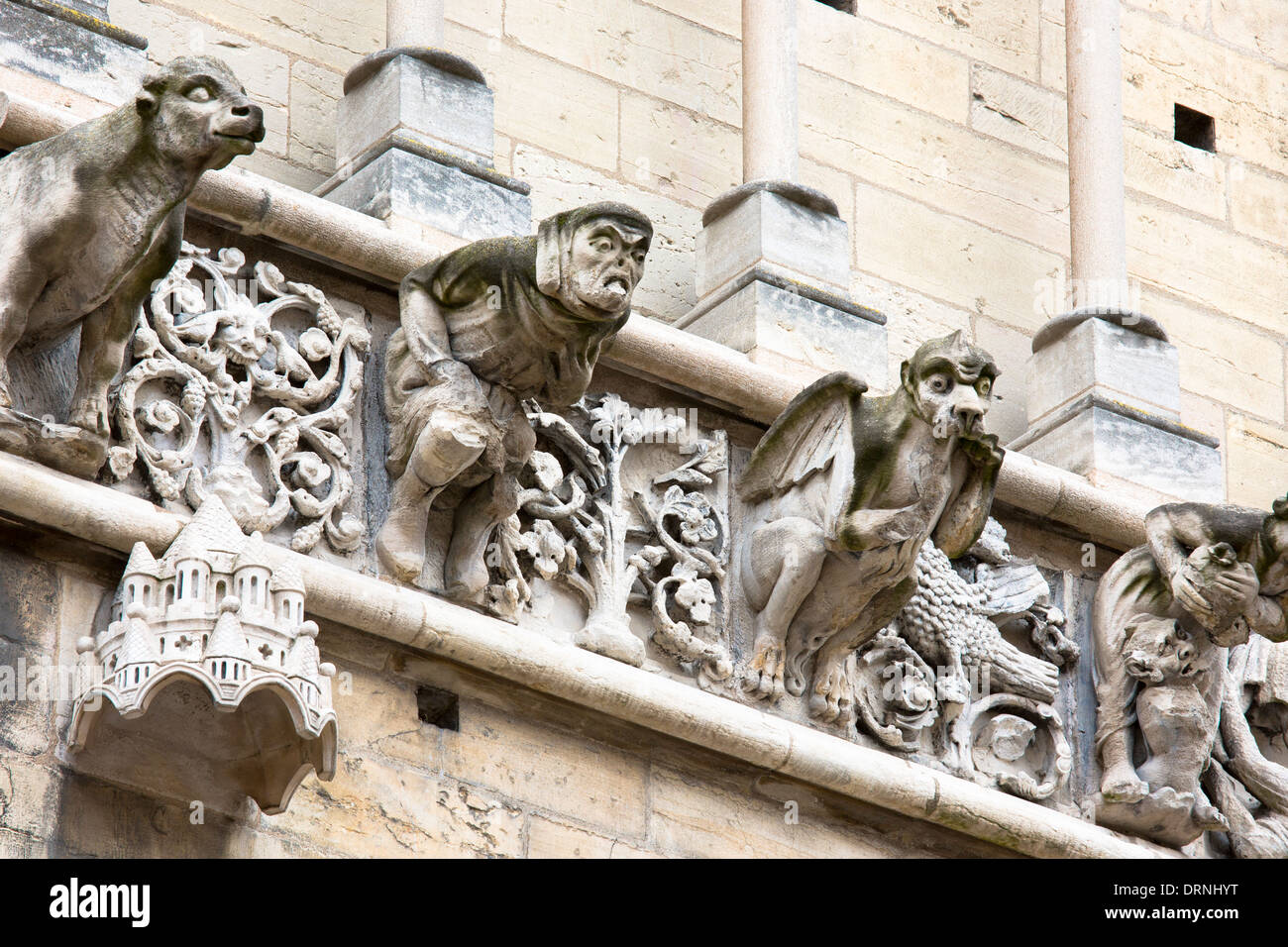 Gargoyles at the Notre Dame Cathedral in Dijon in the Burgundy region of France Stock Photo
