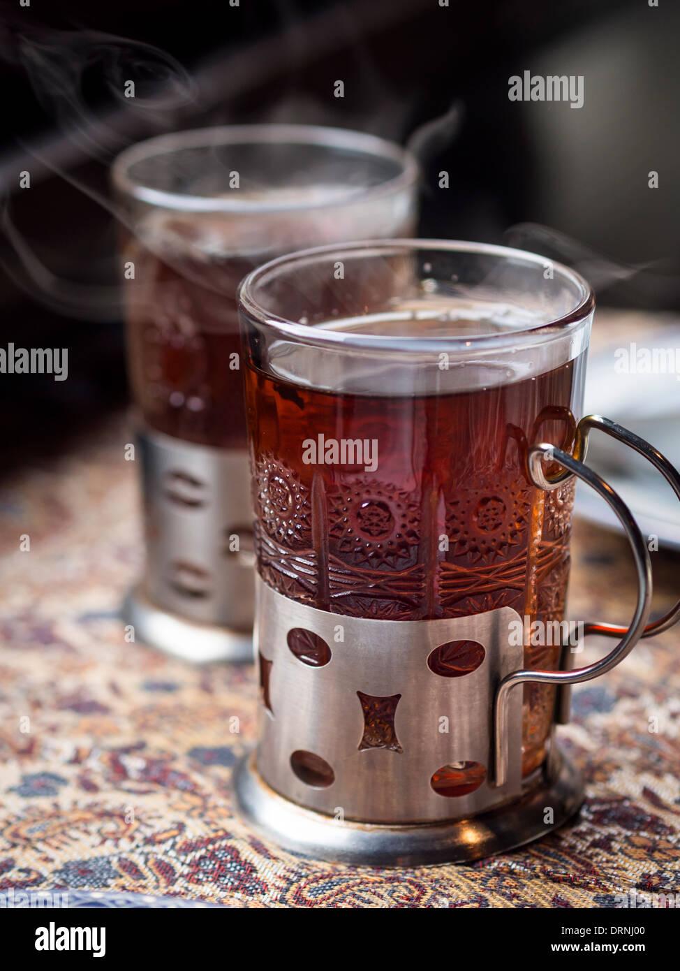 Traditional Azerbaijani tea. - Stock Image