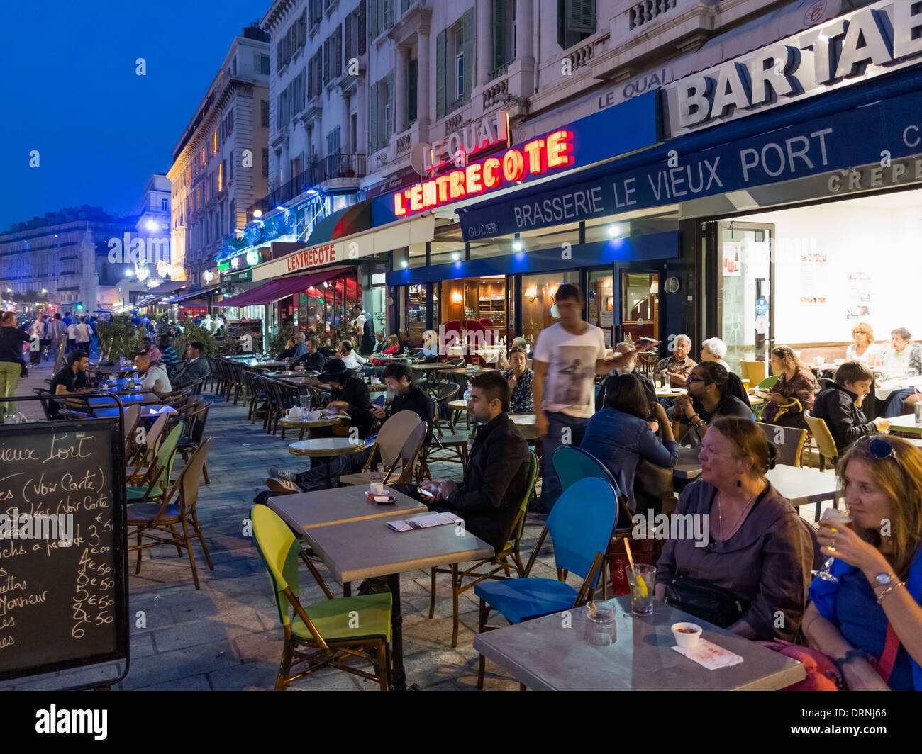 marseille france people at busy pavement cafe bars next to the