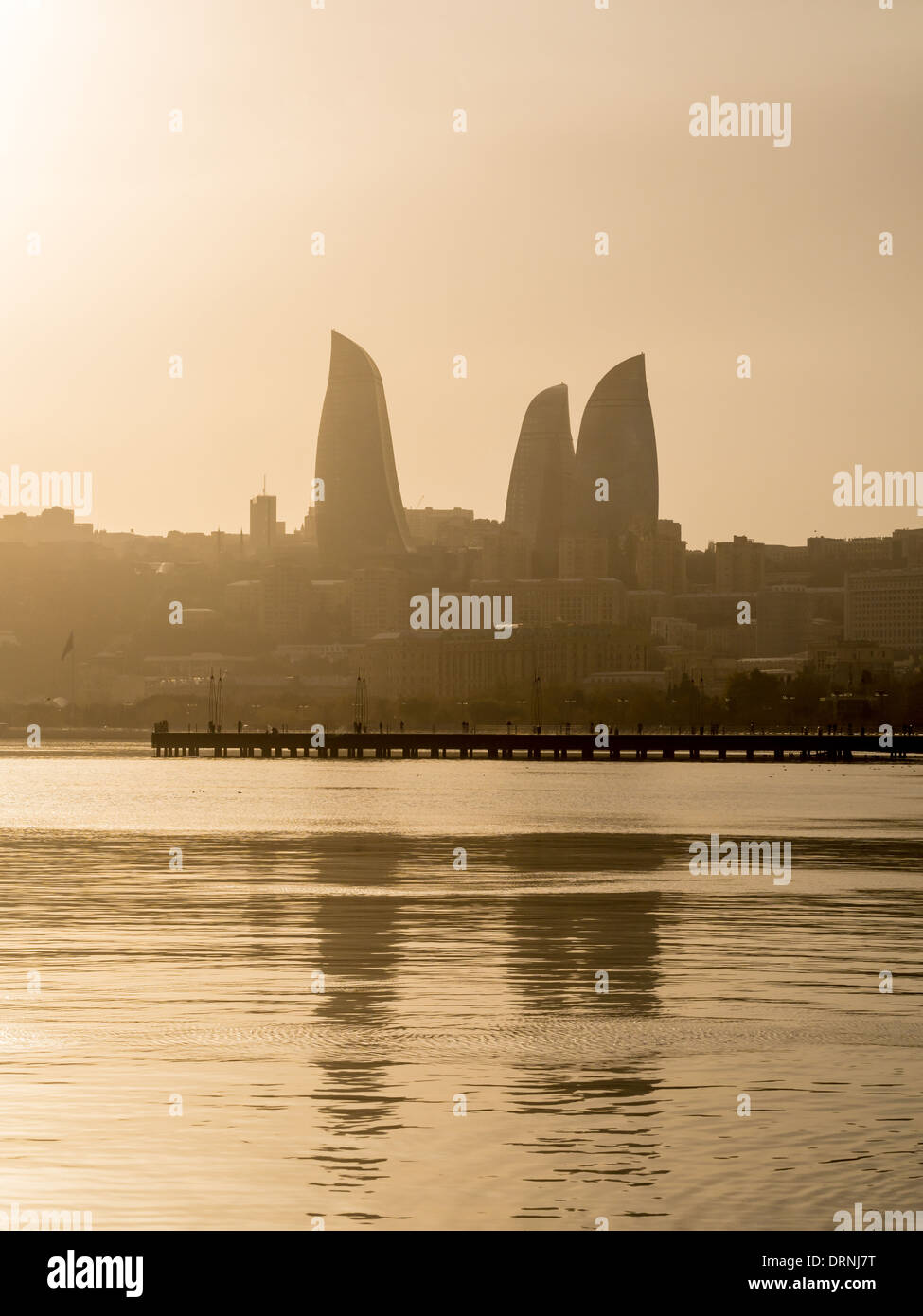Baku, Azerbaijan, seen from the Baku Boulevard. Stock Photo