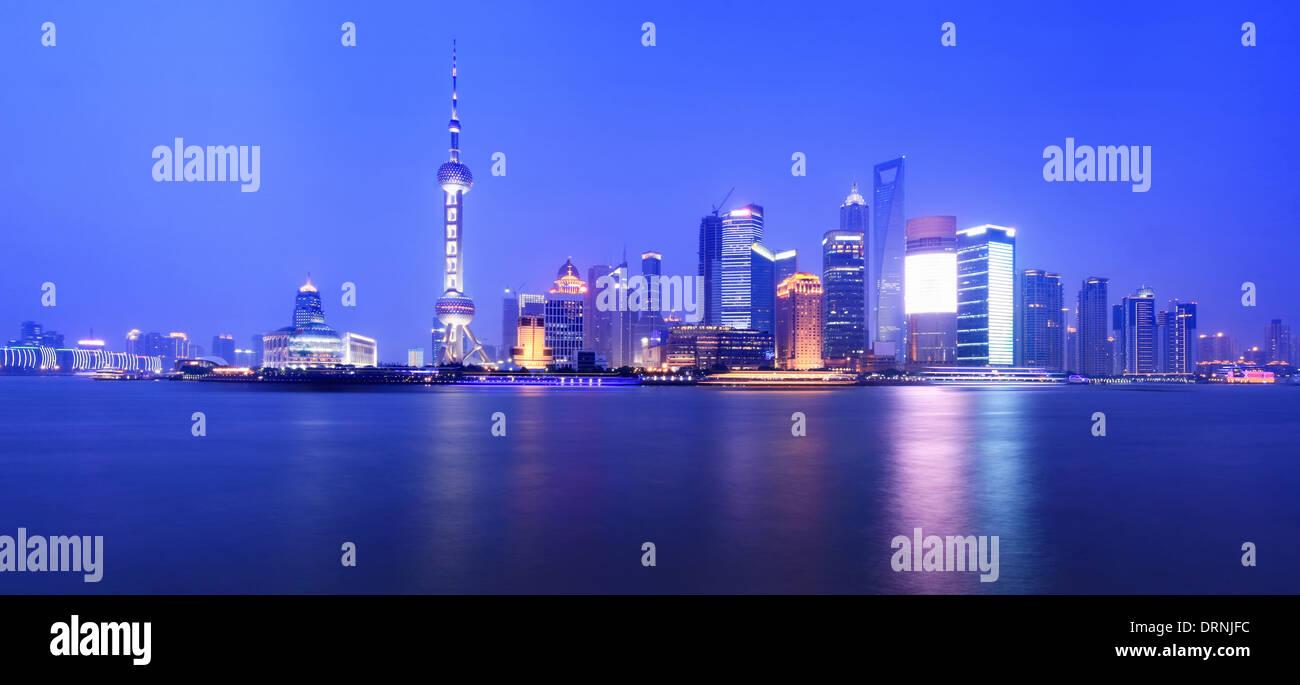night view of shanghai Stock Photo