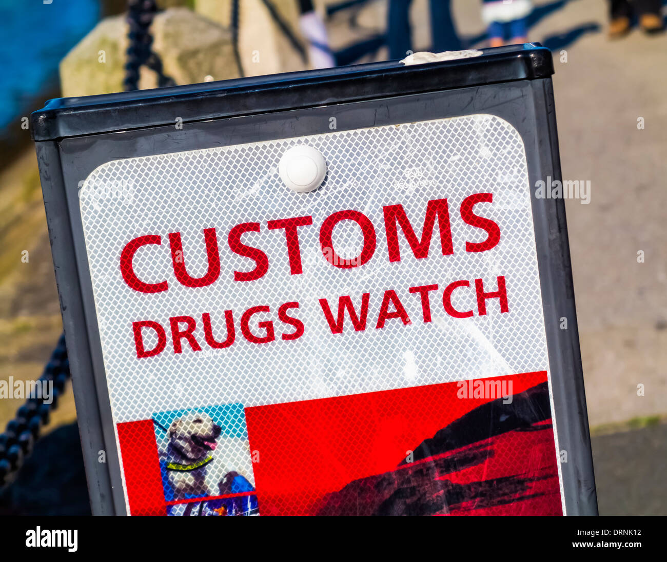 Customs drug watch sign - Stock Image