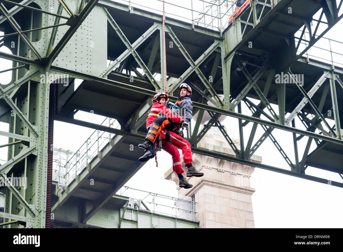 Local fire fighters have a high angle rescue exercise at the old ship canal lift Henrichenburg. - Stock Image