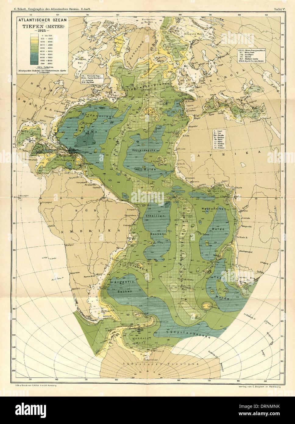 Topographic Map Of Ocean Floor.Map Of Atlantic Ocean Floor From Geographic Das Atlantischen Ozeans