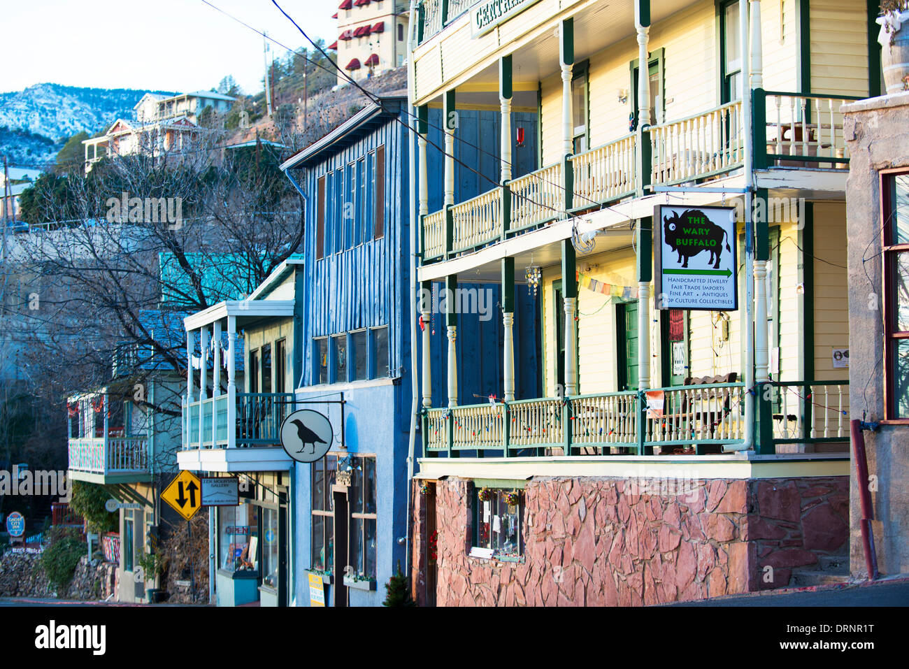 Restored historic buildings in Jerome now serve as art galleries, restaurants and inns. - Stock Image