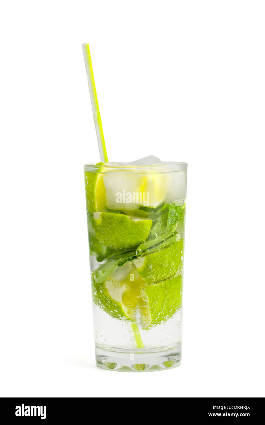 Alcoholic drink of Mojito on the white isolated background - Stock Image