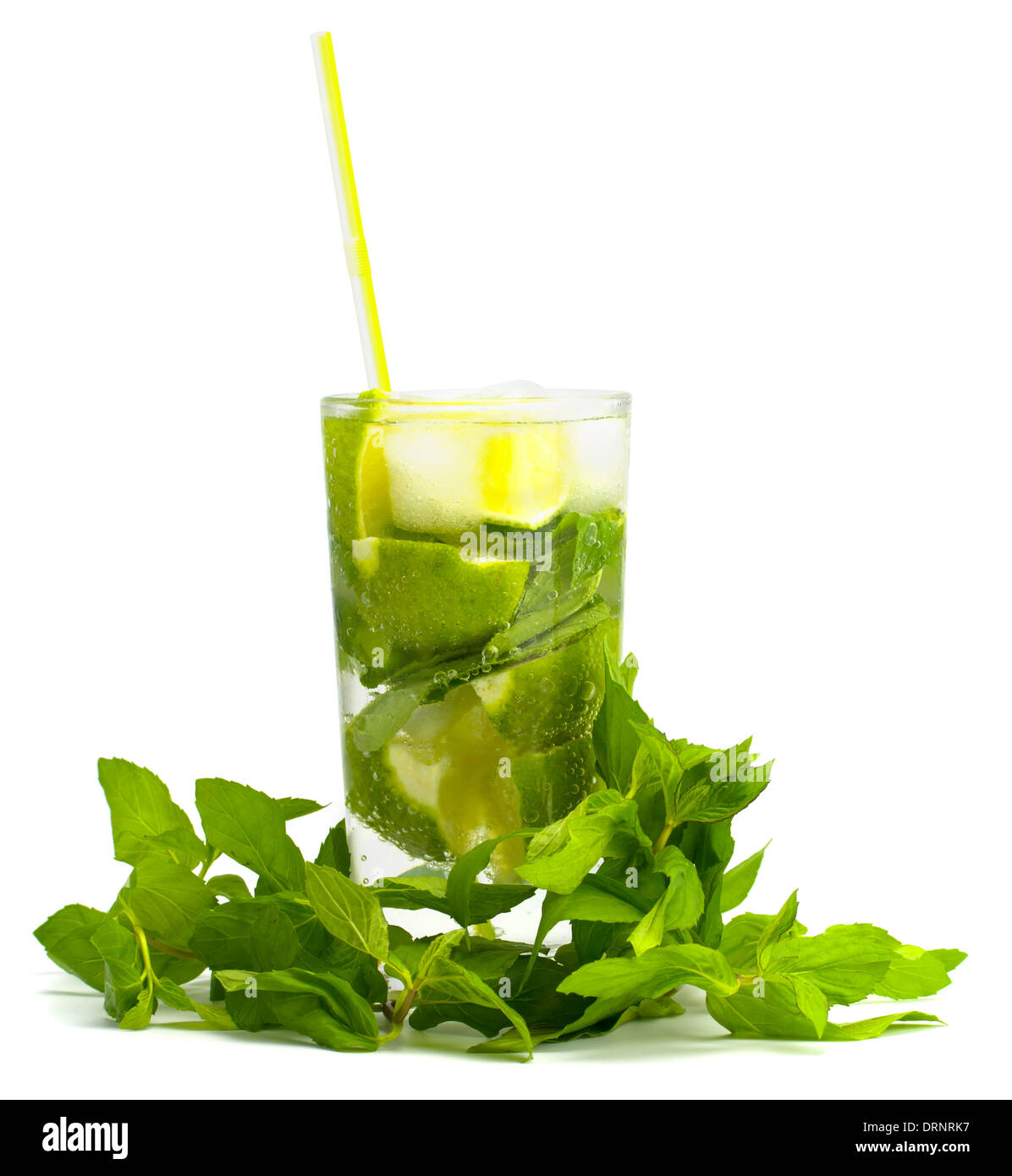 Alcoholic drink of Mojito and mint on a white background - Stock Image