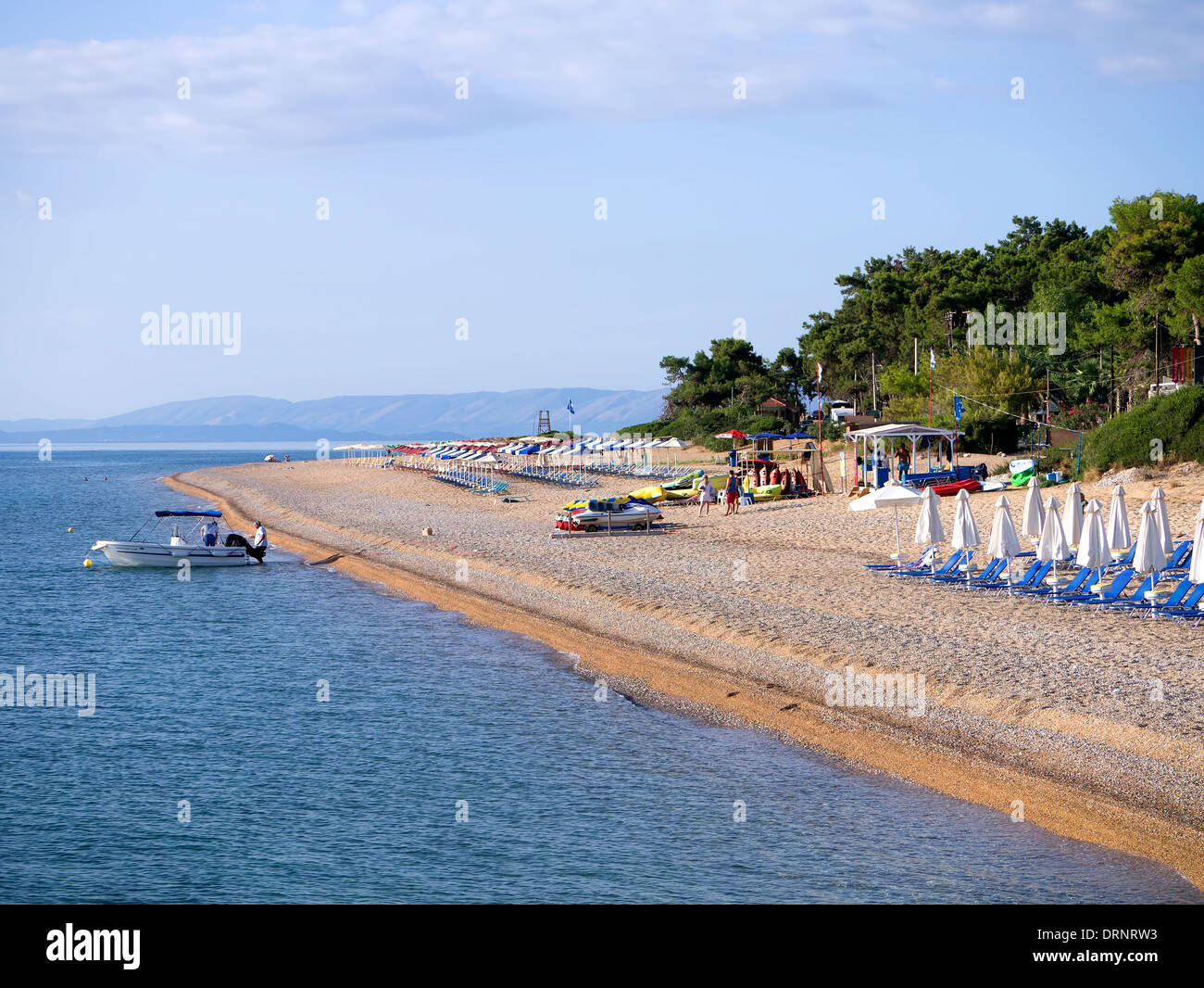 Skalas blue flag beach viewed from Captain Vangelis cruise boat on the Island of Kefalonia Greece - Stock Image