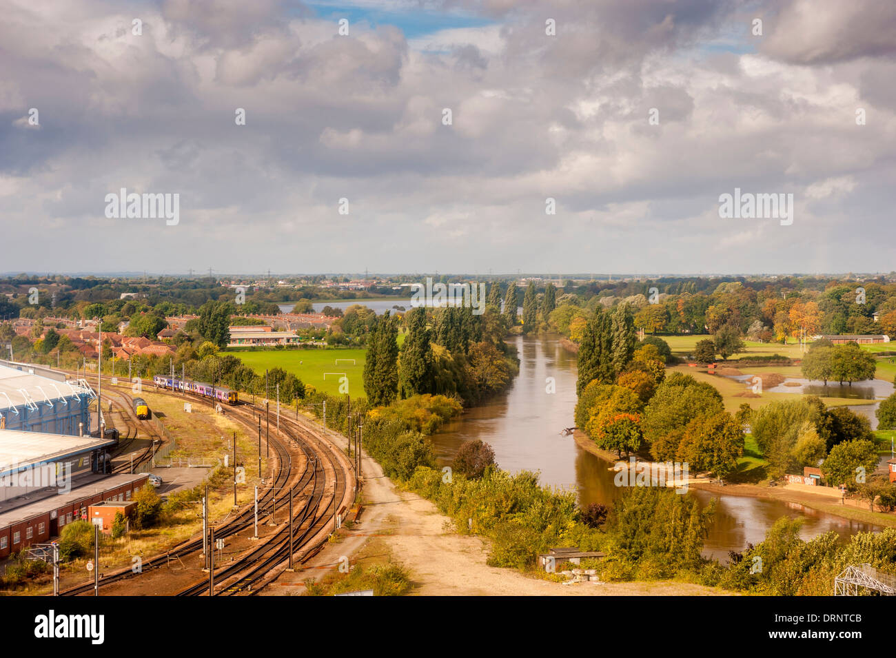 Elevated view of River Ouse in York and Flood plains to either side. Stock Photo