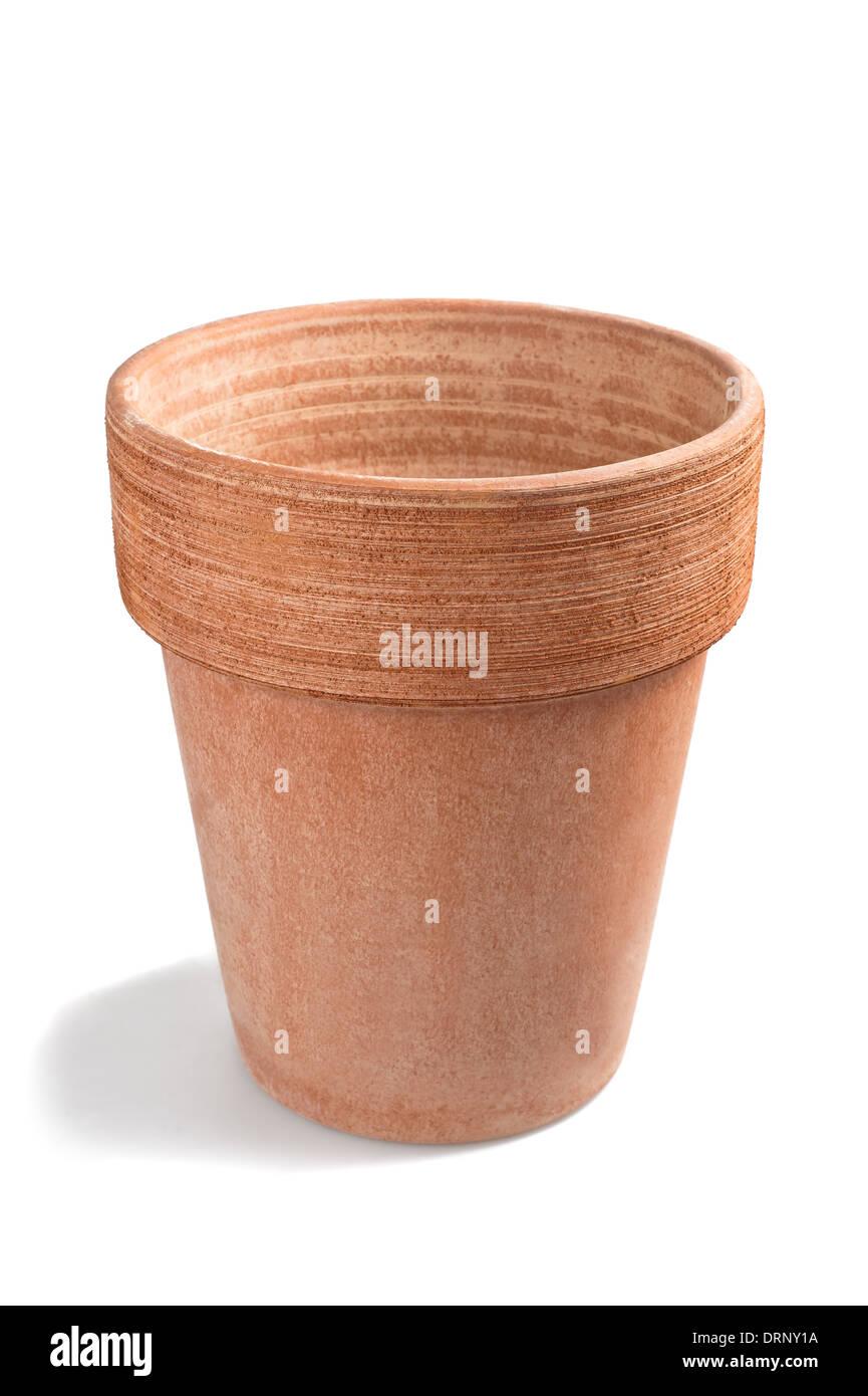 earthenware flowerpot isolated on white - Stock Image