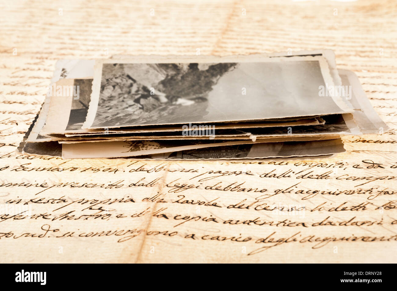 old letter with old photos - Stock Image
