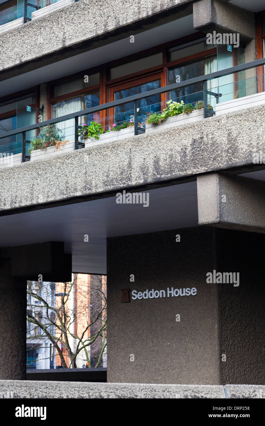 Residential tower block on the Barbican Estate central London, UK - Stock Image