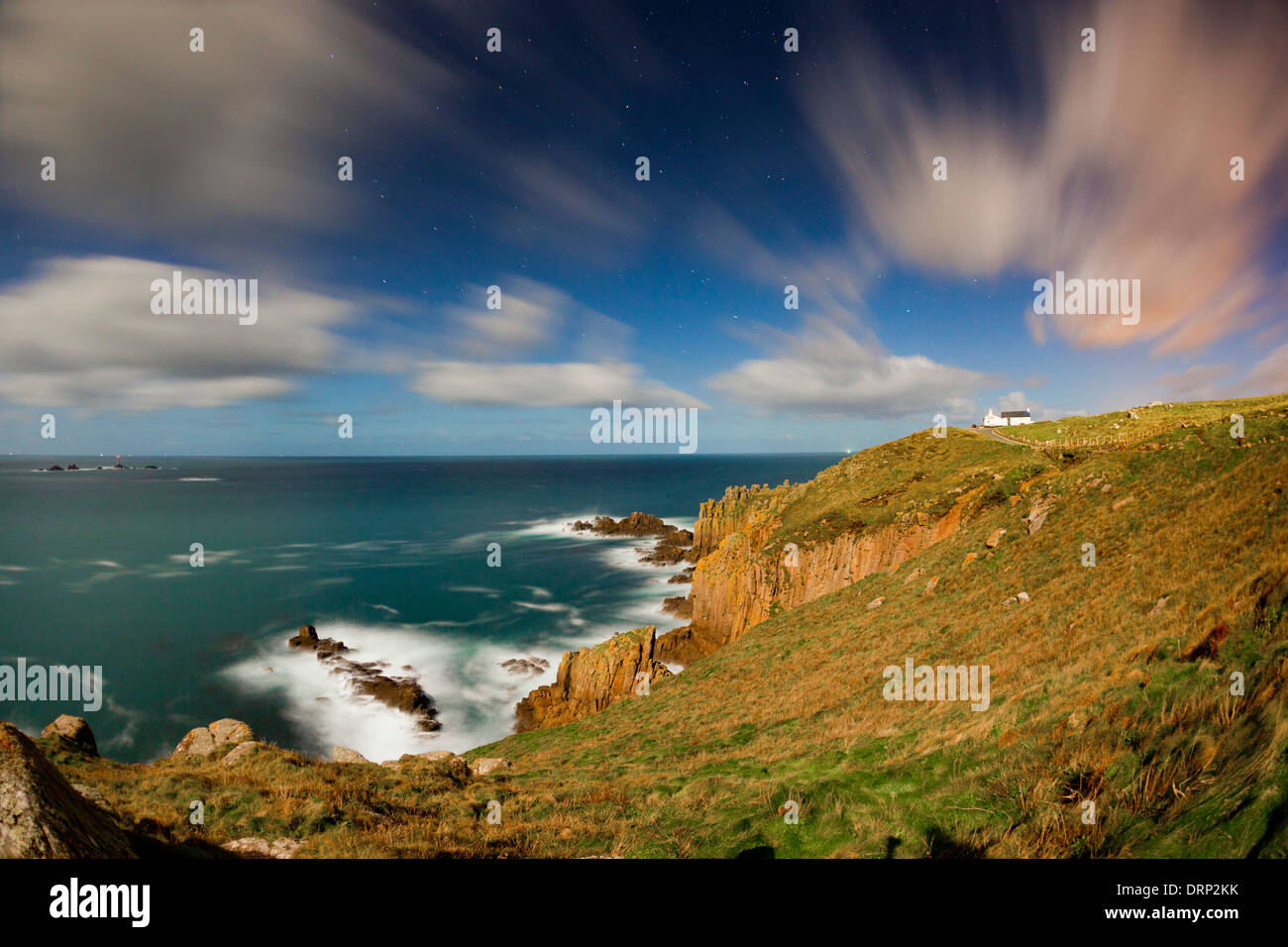 Land's End; by Moonlight; Cornwall; UK - Stock Image