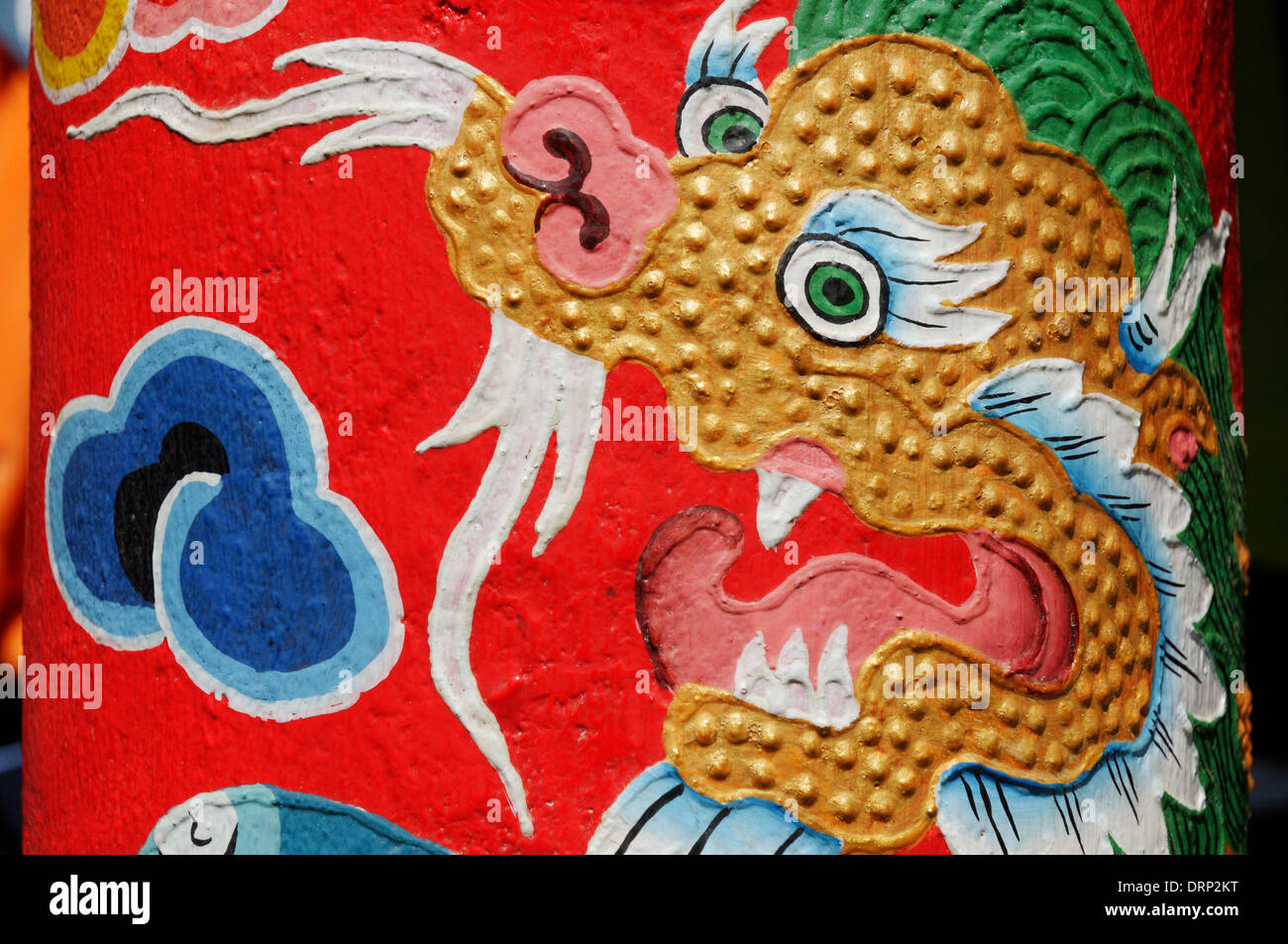 Nepali red and gold dragon painting - Stock Image